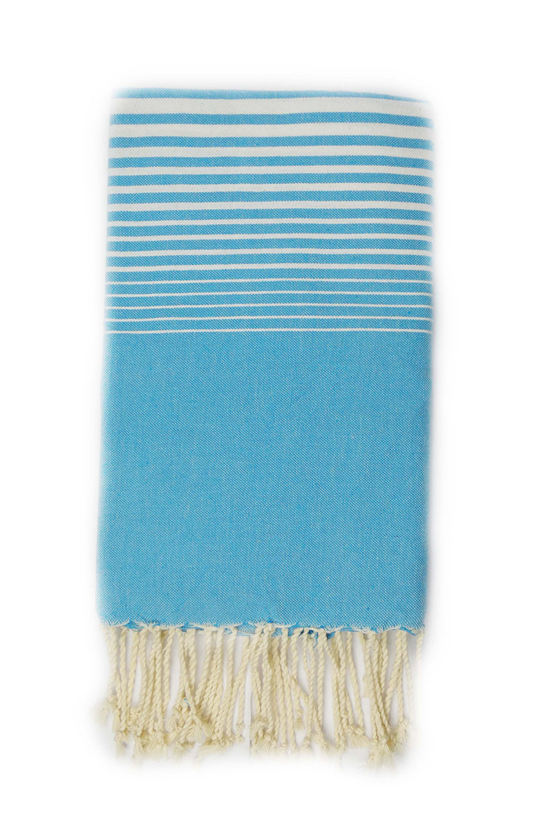0149 fouta miami turquoise rayures blanches dinotex-export.com